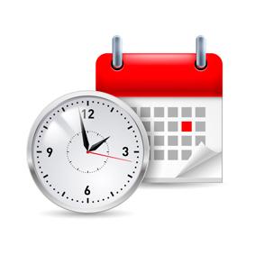 годинник, календар - символ роботи в салоні краси